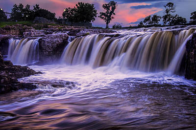 Photograph - Waterfalls At Sunset In Sioux Falls by Randall Nyhof