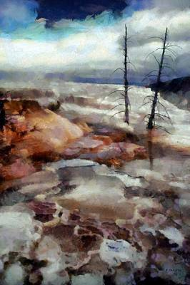 Yellowstone Digital Art - Waterfalls At Yellowstone by Kai Saarto