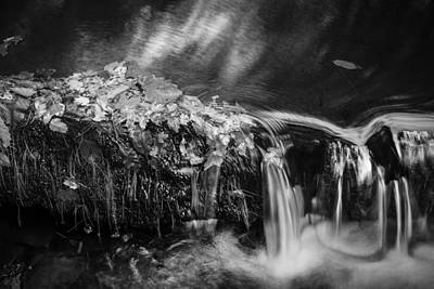 Black Rock Yellow Leaves Water Photograph - Waterfalls Childs National Park Painted Bw   by Rich Franco