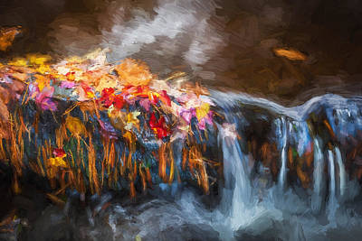 Black Rock Yellow Leaves Water Photograph - Waterfalls Childs National Park Painted  by Rich Franco