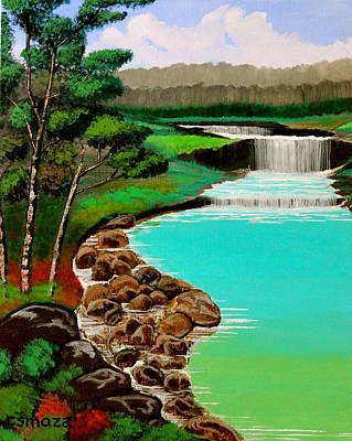 Cyril Painting - Waterfalls by Cyril Maza