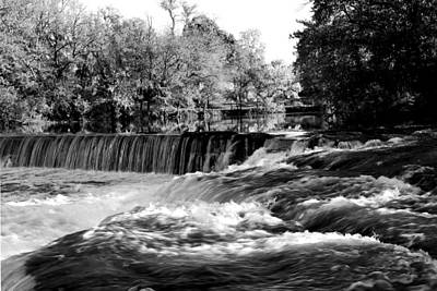 Photograph - Waterfalls In Autumn Black And White Original Fine Art Landscape Photography Print As A Gift by Jerry Cowart
