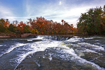 Photograph - Waterfalls In Autumn On The Stones River Fine Art Photography Print  by Jerry Cowart