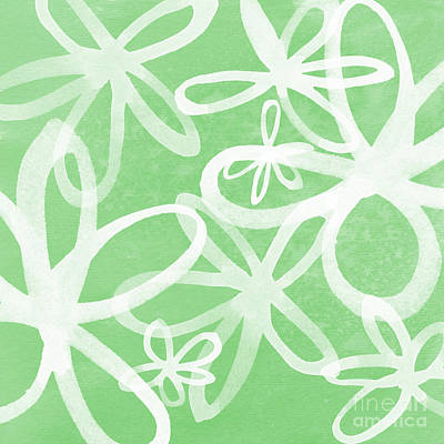 Waterflowers- Green And White Art Print by Linda Woods