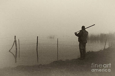 Photograph - Waterfowler Before Dawn - D008866-bw by Daniel Dempster