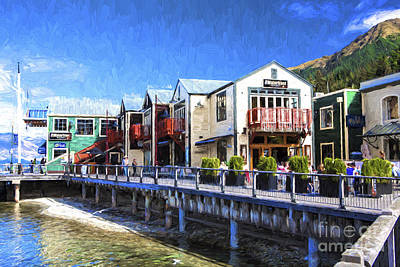 Conversion Digital Art - Waterfront At Queenstown New Zealand by Avalon Fine Art Photography