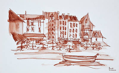 Waterfront Dining, Concarneau Art Print