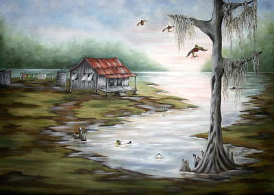 Waterfowl Painting - Waterfront Living by Ruth Bares