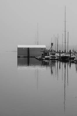 Photograph - Marina Boathouse - Bw by Marilyn Wilson