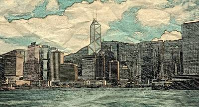 35mm Mixed Media - Waterfront View Of Hong Kong by Pamela Blayney