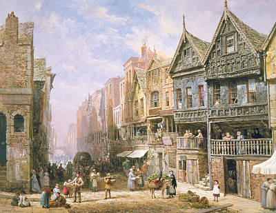 Village Scene Painting - Watergate Street Looking Towards Eastgate Chester by Louise J Rayner
