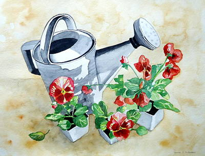 Painting - Watering Can With Pansies by Laurie Anderson