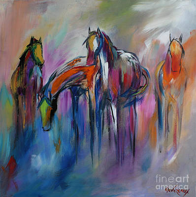 Wild Horses Painting - Watering Hole by Cher Devereaux