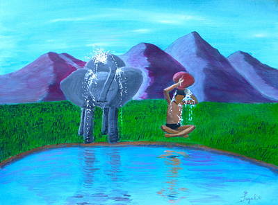 Painting - Watering Hole Friends by Artistic Indian Nurse