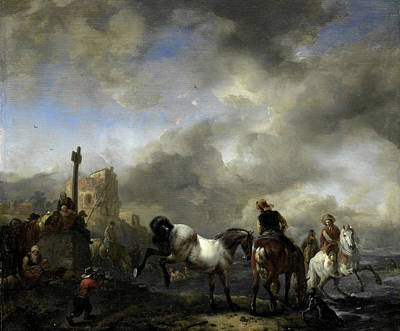 Boundary Drawing - Watering Horses Near A Boundary Marker, Philips Wouwerman by Litz Collection