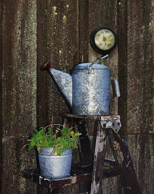 Photograph - Watering Pot On A Ladder by Angi Parks