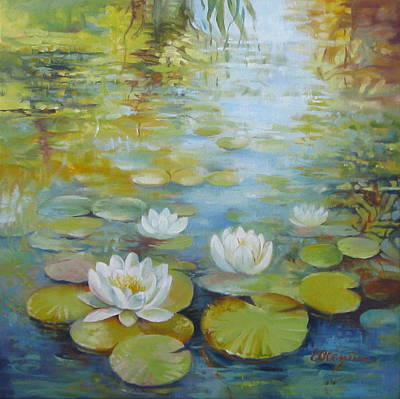 White Waterlily Painting - Waterlilies by Elena Oleniuc