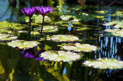 Digital Art - Waterlilies - Green And Purple Impressions by Georgia Mizuleva