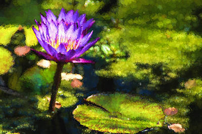 Digital Art - Waterlilies Impressions - Sunny Purple Pair by Georgia Mizuleva