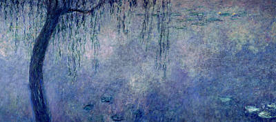 Waterlilies Two Weeping Willows Art Print by Claude Monet