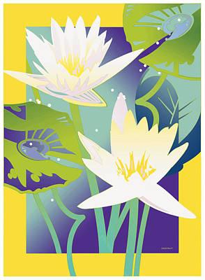 Waterlilies Yellow Border Art Print