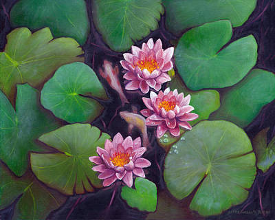 Lilly Pond Painting - Waterlillies by JoAnn   Morgan