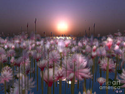Art Print featuring the digital art Waterlillies by Susanne Baumann