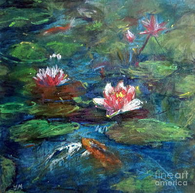 Painting - Waterlily In Water by Jieming Wang