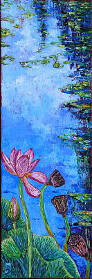 Lilly Pond Painting - Waterlily Stages by Linda J Bean