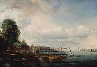 Bathing Photograph - Waterloo Bridge, C.1820 Oil On Canvas by John Constable