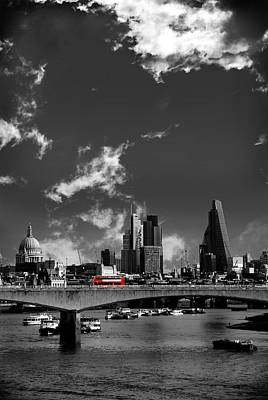 Bus Photograph - Waterloo Bridge London by Mark Rogan