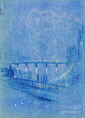 Waterloo Bridge Over Charing Cross Bridge 1901 Print by Padre Art