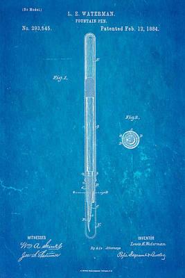 1884 Photograph - Waterman Fountain Pen Patent Art 1884 Blueprint by Ian Monk