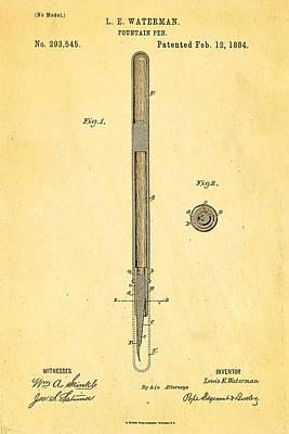 1884 Photograph - Waterman Fountain Pen Patent Art 1884 by Ian Monk