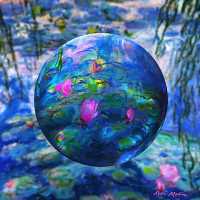 Globe Painting - Lilly Pond by Robin Moline