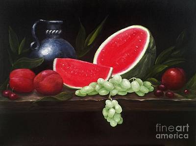 Painting - Watermelon And Fruit by Michelle Welles