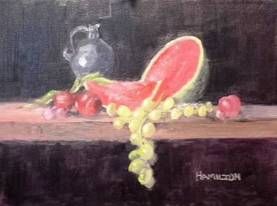 Painting - Watermelon And Plums - Still Life by Larry Hamilton