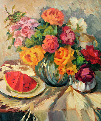 Watermelon Painting - Watermelon And Roses by Diane McClary