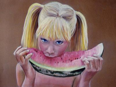 Watermelon Bite Art Print by Colleen Gallo
