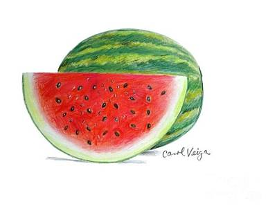 Watermelon Drawing - Watermelon by Carol Veiga