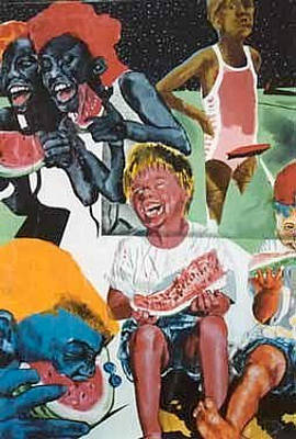 Painting - Watermelon Eaters #1 by Michael  Singletary