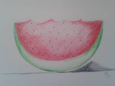 Watermelon Drawing - Watermelon by Emese Varga