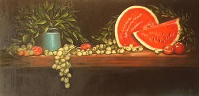Painting - Watermelon Grapes Plum Apple Still Life  by Roena King