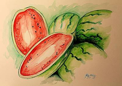 Painting - Watermelon by Henry Blackmon