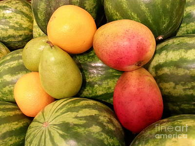 Mango Digital Art - Watermelons And Fruity Friends by Emmy Marie Vickers