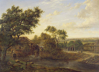Rural Landscapes Photograph - Watermill At Carshalton, 1830 Oil On Panel by Patrick Nasmyth