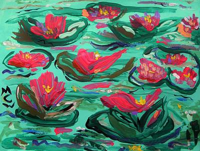 Lily Pad Pond Drawing - Waterproof by Mary Carol Williams