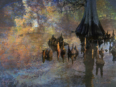 Digital Art - Waterscape-cypress Knees by J Larry Walker