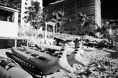 Watersports Equipment For Hire In Front Of Apartments Hotels And Beachfront Developments Fort Lauder Print by Joe Fox