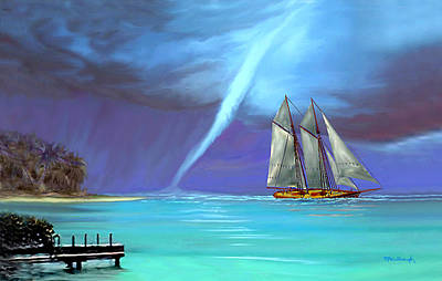 Mixed Media - Waterspout And The Schooner by Duane McCullough